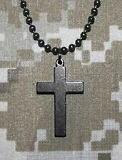 Official U.S. Military CROSS GI Jewelry Stainless Steel Necklace - BLACK