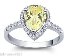 Canary Yellow Cubic Zirconia Pears Shaped Solitaire Ring With Pave Set Size 5