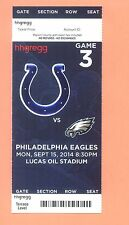 Philadelphia Eagles @ Indianapolis Colts 2014 ticket Andrew Luck photo of logo B