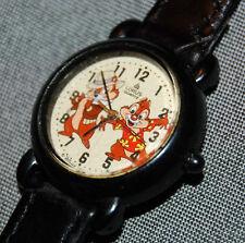 RARE!  Disney Chipmunks Lorus 12 Hour Analog Black Watch Leather Band NEW BATT!
