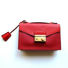 R-781600 New Prada Red Saffiano Mini Crossbody Leather Evening Handbag