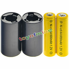 Batteries 2x AA rechargeables NiCd 600mAh 1.2v + 2XC Battery Adapter Converter