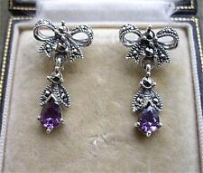 Deco Design Genuine Amethyst/Marcasite Silver Bow Earrings