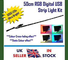 Multi-Colour Changing LED RGB USB Strip Tape Light 50CM - Laptop PC TV Monitors