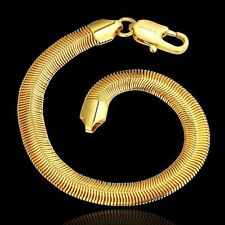 18K Yellow Gold Plated snake chain Bracelet Bangle man Fashion Jewelry UK