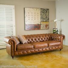 Old English Inspired Brown Tufted Top Grain Leather Sofa w/ Wheels
