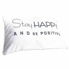 "Classic White Cotton ""Stay Happy and Be Positive"" Cushion & Inner 40x60cm"