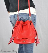 NWT COACH PETAL BRIGHT RED LEATHER MESSENGER SHOULDER BAG SATCHEL HANDBAG PURSE