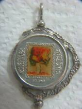 Flowers and Bass Player MANE KATZ 999.9 SILVER MEDAL PENDANT ISRAEL