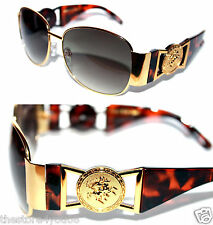 Medusa Metal Gold Logo Brown Shield Aviator Sunglasses Vintage Hip Hop Rapper