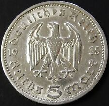 VINTAGE SILVER NAZI GERMANY 5 REICHSMARK COIN CURRENCY 1935/1936 WW2