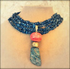 BLUE GENUINE SODALITE NECKLACE GEM JEWELRY Red Chunky Coral Gold Agate Pendant