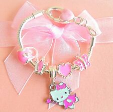 CHILDRENS BIRTHDAY CHARM BRACELET X5 CHARMS  PINK SPARKLY HELLO KITTY GIFT BOXED