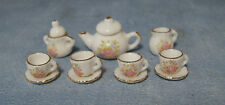 1:12 Ceramic 11 Piece White & Pink Floral Dolls House Miniature Tea Set 2186