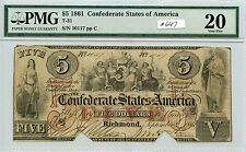 $5 1861 Csa T-31 (#647) Pmg Vf20 Cutout Cancelled. Very Scarce Note. Check out t