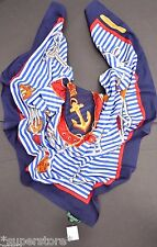 RALPH LAUREN WOMEN'S LADIES POLO SCARF WRAP NAVY EQUESTRIAN NAUTICAL ANCHOR