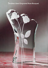 NEW in BOX STEUBEN Glass ROSE BOUQUET ENGRAVED ornament vase I HEART U love
