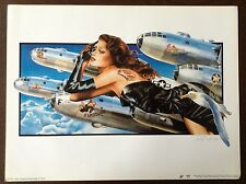 RARE Art PRINT Pinup Philip Castle Vintage FANTASY Jet Engine Air Force Military
