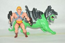 VERY RARE TOY MEXICAN FIGURE BOOTLEG MOTU HE-MAN AND BATLLE CAT GREEN