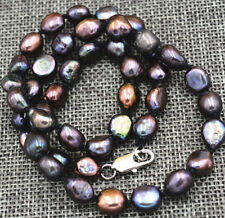 """New Rare! 7-8MM black Akoya Cultured Pearl Baroque Necklace 18"""" AAA 18K GP"""