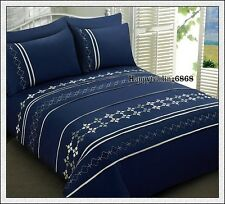 280TC Navy Silver Embroidery Pintuck Panel 3pc KING QUILT DOONA DUVET COVER SET