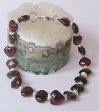 NATURAL RED RHODOLITE GARNET HEARTS KEISHI PEARLS .925 STERLING SILVER BRACELET