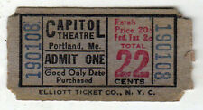 1930s CAPITOL THEATRE Ticket Stub PORTLAND MAINE Theater MOVIE Hollywood MOVIES