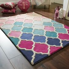 Modern Illusion Rosella Pink & Blue Multi Colour Handmade Wool Rugs 80x150cm