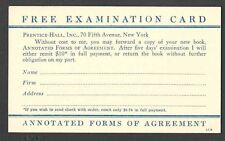 Ca 1919 P C NY PRENTICE HALL BOOK ON ANNOTATED FORMS OF AGREEMENT UNPOSTED