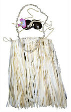 Hawaiian Hula Grass Skirt Set Real Raffia Coconut Bra Lei Hair Flower Child Nat