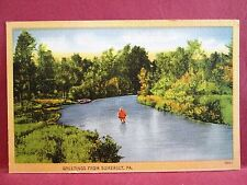 Postcard PA Somerset Greetings from Somerset Man Fishing in Stream