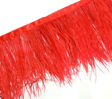 F105 PER 30cm- Red Ostrich feather fringe Trim Brooch/Fascinator Material