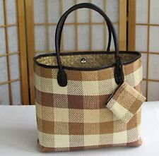 Womens Large Checked Straw Tote Beach Hand-Bag w/Faux Leather Strap Change Purse