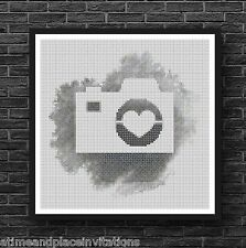 Silhouette Camera on Watercolor Black & White Counted Cross Stitch Pattern