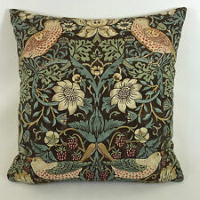 "William Morris Strawberry Thief Chocolate Slate Cushion Cover 16"" x 16"""