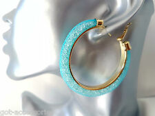 Gorgeous gold tone & Aqua - Turquoise sparkly crystal filled hoop earrings **