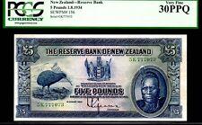 """NEW ZEALAND P156 5 POUND 1934 """"CHIEF MAORI"""" PCGS 30PPQ RARE! DODO BIRD"""