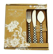 MACKENZIE CHILDS 12 PIECE COURTLY CHECK ENAMELED FLATWARE SERVICE BRAND NEW BOX
