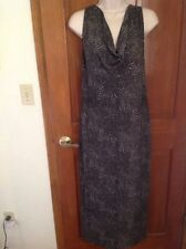 Olian Maternity Small Dress, NWOT, Maxi Evening Wear, Black, Metallic, Lining