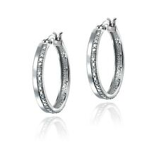 1/4ct TDW Diamond Hoop Earrings in Silver Plated Brass