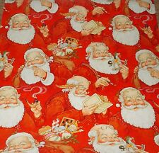 VINTAGE CHRISTMAS WRAPPING PAPER GIFT WRAP MID CENTURY SANTA RETRO COOL 3 YARDS