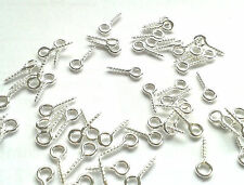 200 eye hooks screw in for jewellery making charms 8mm x 4mm silver plated