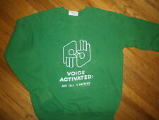 vtg 80s SIGN LANGUAGE SWEATSHIRT Interpret Voice Activated Deafness Hearing Loss