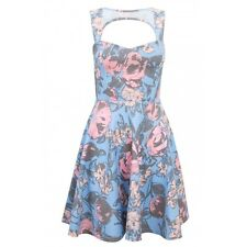Select Womens Large Floral Skater Cut-Out Dress Size 10/38 New* RRP £19.98 Blue