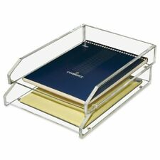 Kantek Acrylic Double Letter Tray Clear Desk Organizer Office File Paper Holder