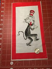 "Fabric Dr Seuss Cat in the Hat Portrait Red Frame Sq Quilt Sq 7"" X 11 1/2"""