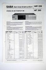 Saba MT 380 original sintonizzatore Service-Manual/instruction/Istruzioni/schema elettrico o52