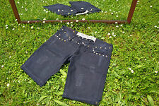 HOLLYWOOD Ladies Distress Black Denim Studs Low Rise Crop Pants Shorts sz L Q32