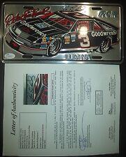DALE EARNHARDT SR NASCAR LEGEND SIGNED AUTOGRAPHED LICENSE PLATE TAG JSA LOA