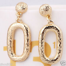Fashion show women Statement Yellow gold filled long Ear Studs earrings hot
